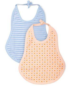 Babyhug Printed Baby Bib Set of 2 - Peach And Blue