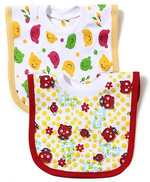 Babyhug Printed T-Shirt Style Bib Set of 2 - Yellow And Red