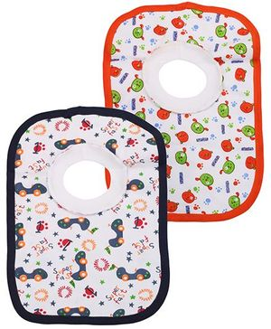 Babyhug Printed T-Shirt Style Bib Set of 2 - Orange And Navy