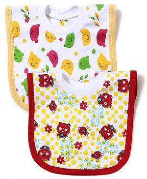 Babyhug Printed T-Shirt Style Bib Set of 2 - Yellow And Red
