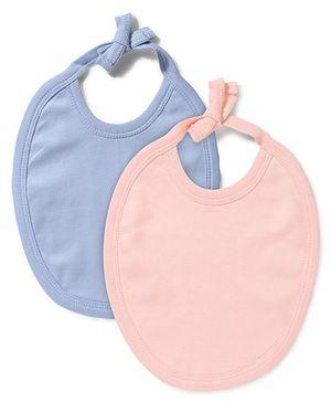 Babyhug Pack of 2 Bibs - Sky Blue And Peach