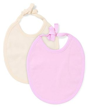Babyhug Pack of 2 Bibs - Pink And Cream
