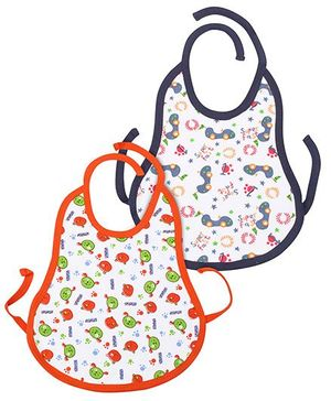 Babyhug Tie Up Bib Multi Print Pack Of 2 - Orange And Navy Blue