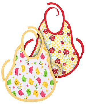 Babyhug Printed Bib With Tie Knot Set of 2 - Yellow Red