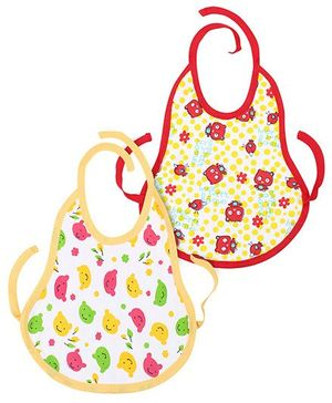 Babyhug Tie Up Bib Teddy Bear Print Pack Of 2 - Yellow And Red