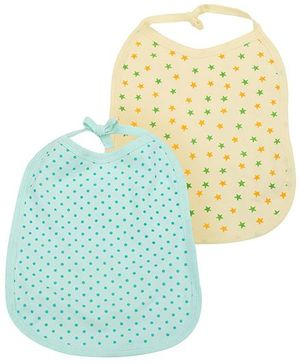Babyhug Printed Bibs Set of 2 - Green Yellow