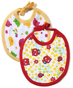 Babyhug Printed Bibs Pack of 2 - Yellow And Red