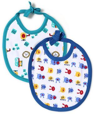 Babyhug Printed Bibs Pack of 2 - Blue And Navy
