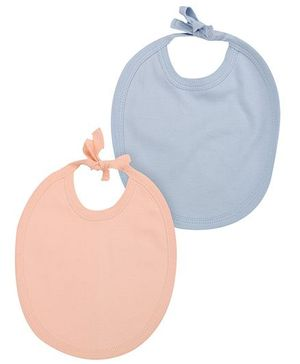 Babyhug Pack of 2 Bibs - Peach and Sky Blue