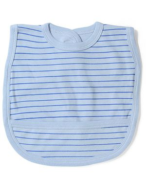 Babyhug Striped Bib Velcro Closure - Blue