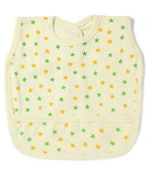 Babyhug Stars Print Bib With Back Knot - Yellow