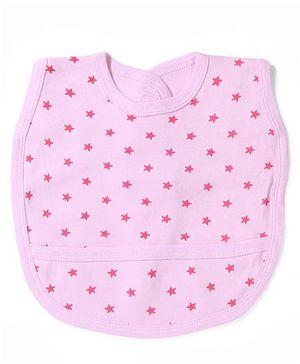Babyhug Stars Print Bib With Back Knot - Pink