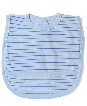 Babyhug Striped Bib With Back Knot - Sky Blue