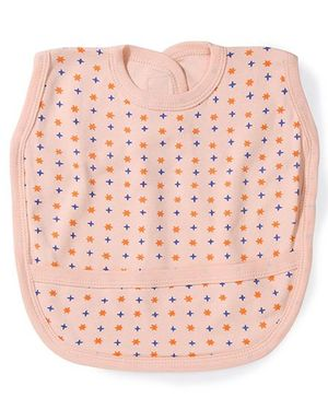 Babyhug Dots Print Bib With Back Knot - Peach