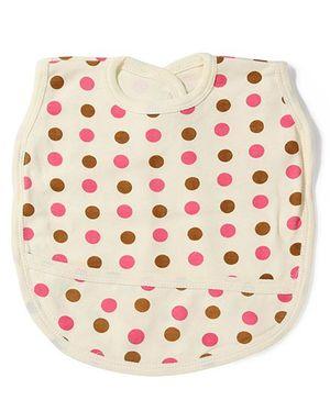Babyhug Polka Dots Bib With Back Knot - Lemon Yellow