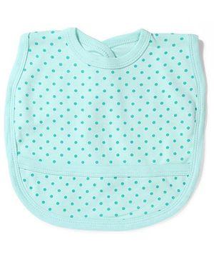 Babyhug Dots Print Bib With Back Knot - Aqua Blue