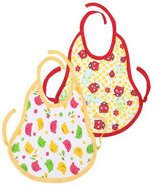 Babyhug Tie Up Bib Teddy Bear Print Pack Of 2 - Yellow And Red