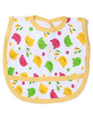 Babyhug Bear Print Bib With Back Knot - White Yellow