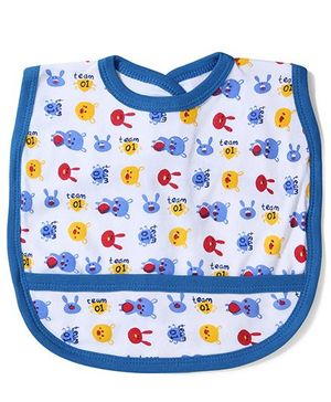 Babyhug Printed Bib With Back Knot - White Blue