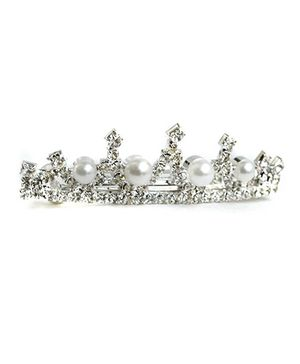 ATUN Diamante And Pearl Crown French Barrette Clip