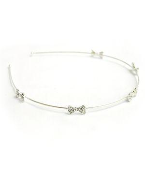 ATUN Diamante Bows On Silver Base Hair Band
