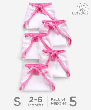 Babyhug U Shape Muslin Nappy Set Small Pack Of 5 - Pink And White