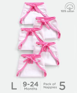 Babyhug U Shape Muslin Nappy Set Large Pack Of 5 - Pink And White