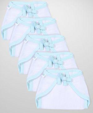 Babyhug U Shape Muslin Nappy Set Extra Small Pack Of 5 - White And Aqua