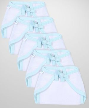 Babyhug U Shape Muslin Nappy Set Small Pack Of 5 - White And Aqua