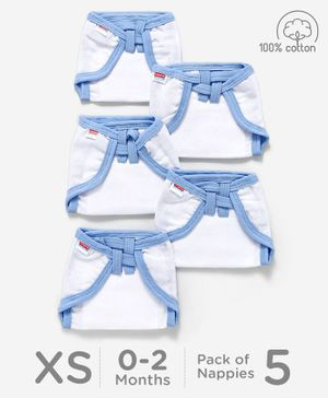 Babyhug U Shape Reusable Muslin Nappy Set Extra Small Pack Of 5 - Blue And White