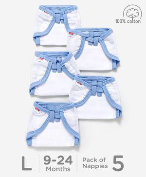 Babyhug U Shape Muslin Nappy Set Large Pack Of 5 - Blue And White