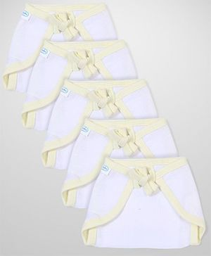 Babyhug U Shape Muslin Nappy Set Small Pack Of 5 - Lemon And White