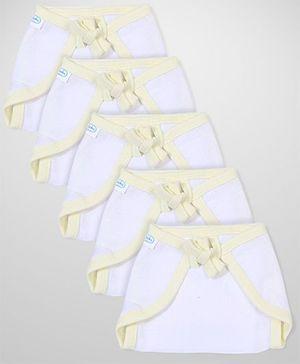 Babyhug U Shape Muslin Nappy Set Medium Pack Of 5 - Lemon And White
