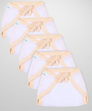 Babyhug U Shape Muslin Nappy Set Medium Pack Of 5 - Peach And White