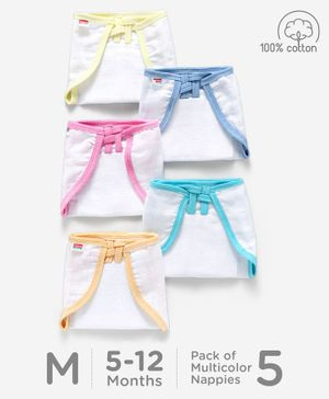 Babyhug U Shape Muslin Nappy Set Medium Pack Of 5 - Multicolor