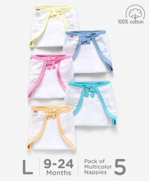 Babyhug U Shape Muslin Nappy Set Large Pack Of 5 - Multicolor
