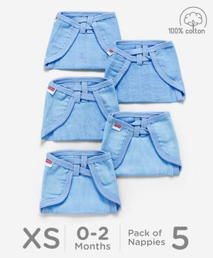 Babyhug U Shape Muslin Nappy Set Lace Extra Small Pack Of 5 - Blue