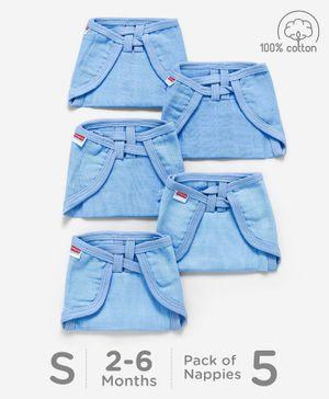 Babyhug U Shape Muslin Nappy Set Lace Small Pack Of 5 - Blue