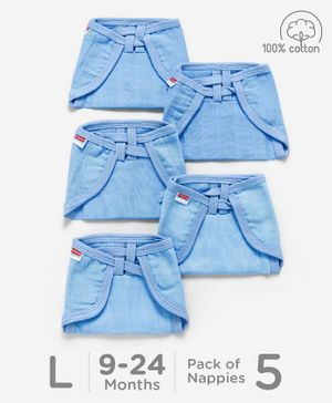 Babyhug U Shape Muslin Nappy Set Lace Large Pack Of 5 - Blue