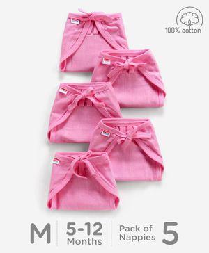 Babyhug U Shape Muslin Nappy Set Lace Medium Pack Of 5 - Pink