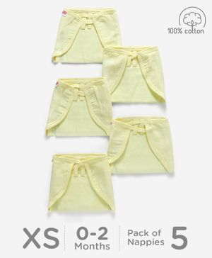 Babyhug U Shape Reusable Muslin Nappy Set Lace Extra Small Pack Of 5 - Lemon Yellow