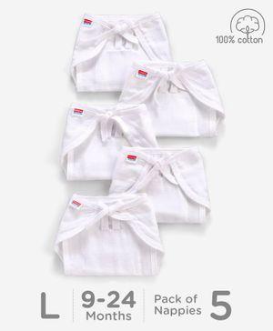 Babyhug U Shape Muslin Nappy Set Lace Large Pack Of 5 - White