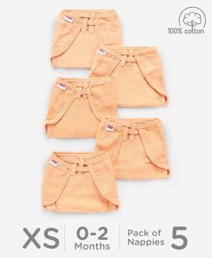 Babyhug U Shape Muslin Nappy Set Lace Extra Small Pack Of 5 - Peach