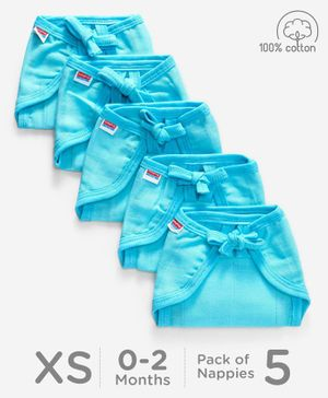 Babyhug U Shape Muslin Nappy Set Lace Extra Small Pack Of 5 - Aqua