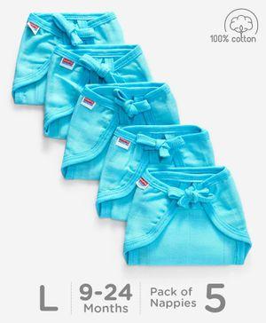 Babyhug U Shape Muslin Nappy Set Lace Large Pack Of 5 - Aqua