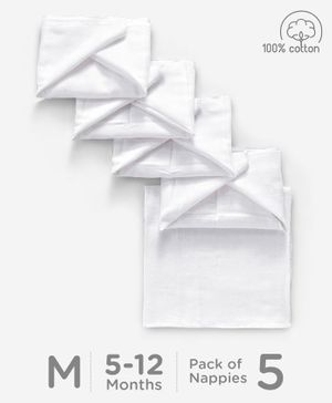 Babyhug Square Muslin Nappy Set Medium Pack Of 5 - White