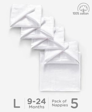 Babyhug Square Muslin Nappy Set Large Pack Of 5 - White