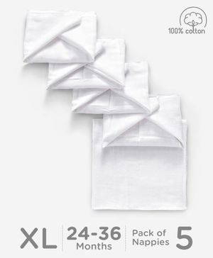 Babyhug Square Muslin Nappy Set Extra Large Pack Of 5 - White