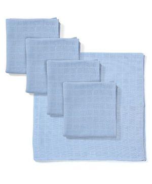 Babyhug Square Muslin Nappy Set Large Pack Of 5 - Blue