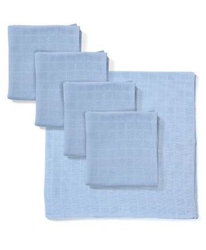 Babyhug Square Muslin Nappy Set Extra Large Pack Of 5 - Blue